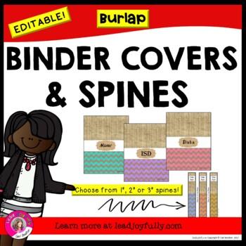EDITABLE Binder Covers & Spines (Burlap)