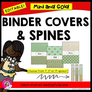 EDITABLE Binder Covers & Spines (Mint & Gold Glitter!)