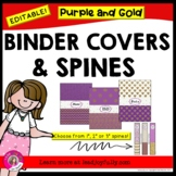 EDITABLE Binder Covers & Spines (Purple & Gold Glitter Designs)