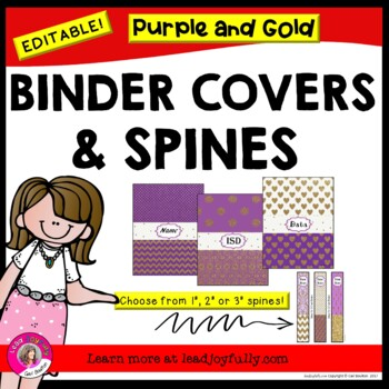 EDITABLE Binder Covers & Spines (Purple & Gold Glitter!)