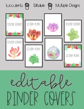 EDITABLE Binder Covers - Succulents Designs