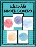 EDITABLE Binder Covers - Watercolor Designs