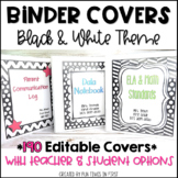 EDITABLE Binder Covers and Spines   Black and White Theme