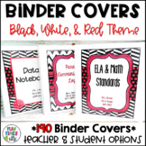 EDITABLE Binder Covers and Spines   Black, White, & Red Theme