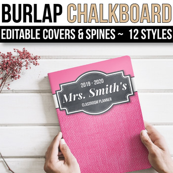EDITABLE Binder Covers and Spines Editable - Burlap and Chalkboard Binder Covers
