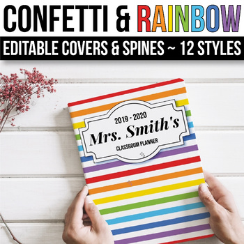 EDITABLE Binder Covers and Spines Editable - Confetti Rainbow