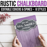 EDITABLE Binder Covers and Spines Editable - Farmhouse Chalkboard Binder Covers