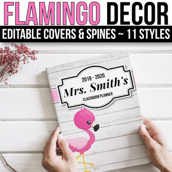 EDITABLE Binder Covers and Spines Editable - Flamingo Binder Covers