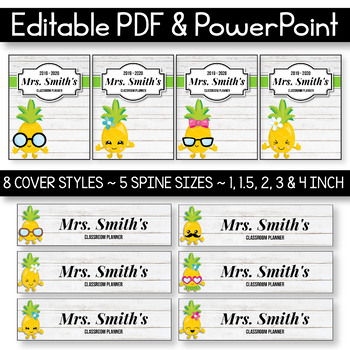 EDITABLE Binder Covers and Spines Editable - Pineapple Binder Covers