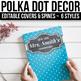 EDITABLE Binder Covers and Spines Editable - Polka Dot Chalkboard Binder Covers