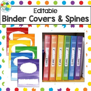 EDITABLE Binder Covers and Spines in Rainbow Theme