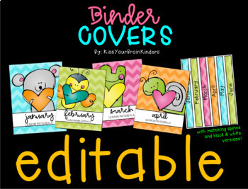 EDITABLE Binder Covers (color and b&w)