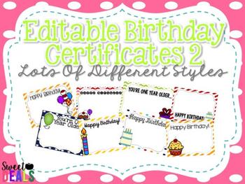 EDITABLE Birthday Certificates 2