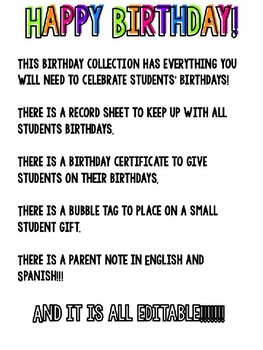 EDITABLE Birthday Certificates, Gift Tag, and Parent Note (English and Spanish)