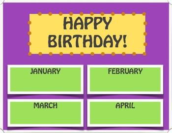 EDITABLE Birthday Chart (Purple)