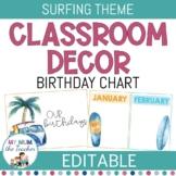 EDITABLE Birthday Chart | Surfing Classroom Decor