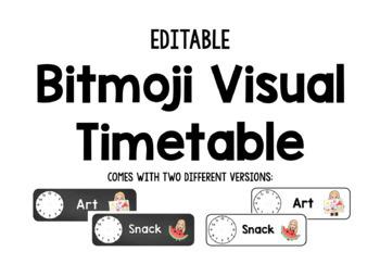 EDITABLE Bitmoji Daily Visual Timetable Schedule Cards