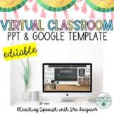 Virtual Classroom Templates Editable Google Slides for Dis