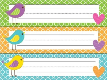EDITABLE Bitty Birdies Name Tags/Desk Plates