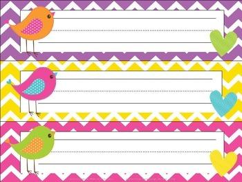 EDITABLE Bitty Birdies Name Tags/Desk Plates