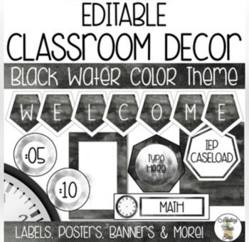EDITABLE Black Watercolor Classroom Theme BUNDLE