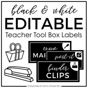 EDITABLE - Black & White Teacher Toolbox Labels
