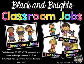 EDITABLE Black and Brights Job Cards