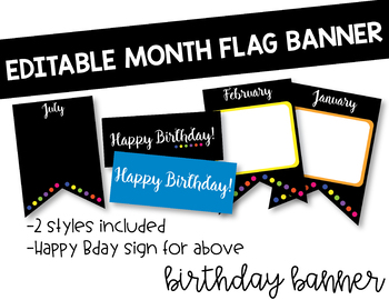 EDITABLE Black and Colorful Birthday Flag Banner