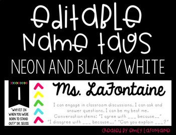 EDITABLE Black and Neon Name Tags