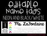 EDITABLE Black and Neon Name Tags