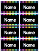 EDITABLE Black and Rainbow Dots Field Trip / Substitute Nametags