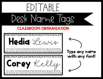 EDITABLE Black and White Desk Name Tags