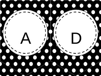 EDITABLE Black and White Polka Dot Bunting Banner