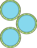 EDITABLE Blank Circle Labels in a variety of sizes!  (blue and green dots)