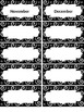 EDITABLE Blk & Wht Swirly Print Monthly Labels