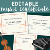 EDITABLE Blue Coral Certificate Template PDF Music Recital