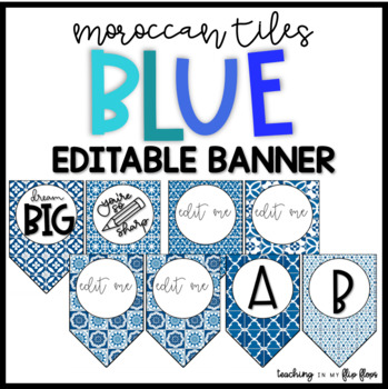 EDITABLE Blue Moroccan Tile Banners
