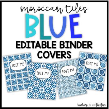 EDITABLE Blue Moroccan Tile Binder Covers