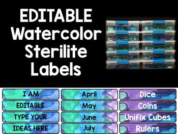 EDITABLE  Blue & Purple Watercolor Sterilite Labels