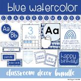 Blue Watercolor Classroom Decor Pack EDITABLE