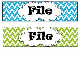 EDITABLE Blue, Green, & Pink Chevron Drawer Labels