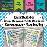 EDITABLE Blue, Green, & Pink Chevron Drawer Labels