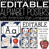 EDITABLE Blue and White Striped Alphabet Posters with Amer