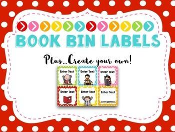 EDITABLE Book Bin Labels