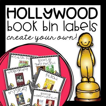 EDITABLE Book Bin Labels - Hollywood Themed!