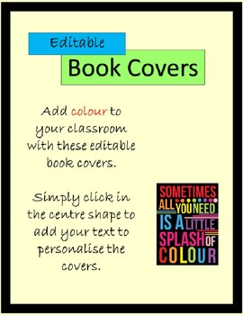 EDITABLE Book Covers Bold Colours