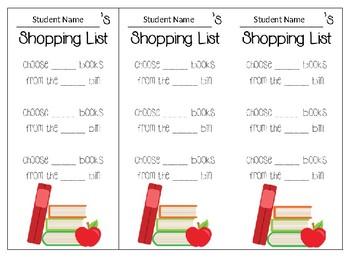 EDITABLE Book Shopping Lists