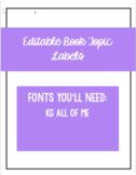EDITABLE Book Topic Labels