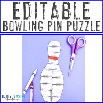 EDITABLE Bowling Pin Puzzle   Game or Supplement for a Bowling Pin Field Trip