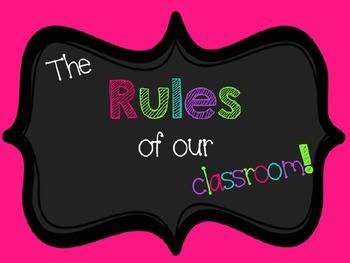 EDITABLE Bright Chevron Classroom Rules Posters